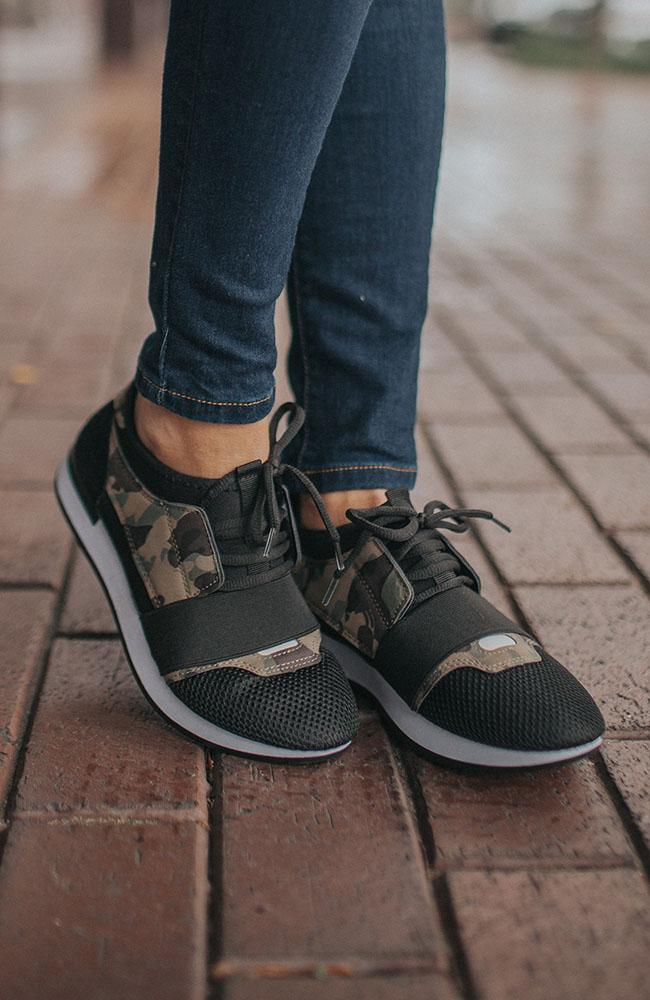 Black and Camouflage Sneakers - THE WEARHOUSE