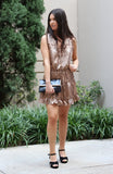 Camel Colored Baby Cheetah Satin Dress