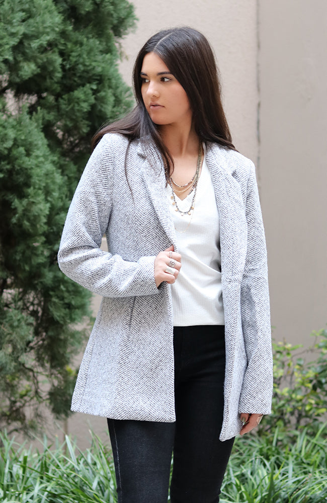 Grey and White Tweed Coat
