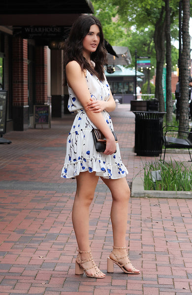Blue Cornflower Print Baby Ruffle Cami Dress