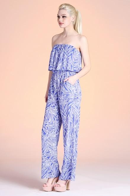 Blue And White Leaf Strapless Jumpsuit