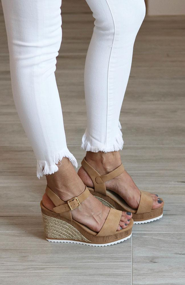 Camel and White Bottom Wedge - THE WEARHOUSE