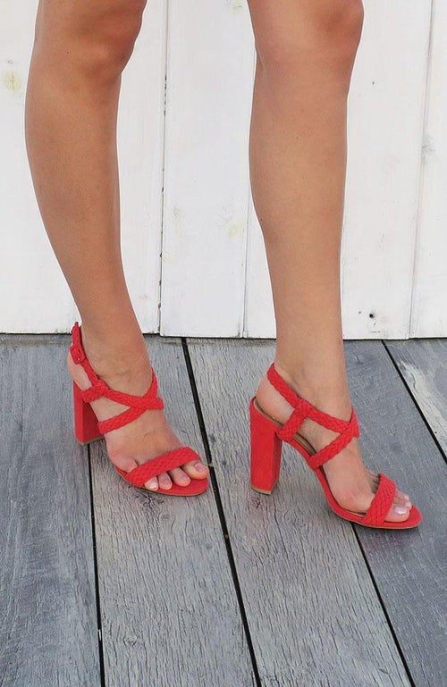 Rosallina Red Classic Strap Open Toe Heel