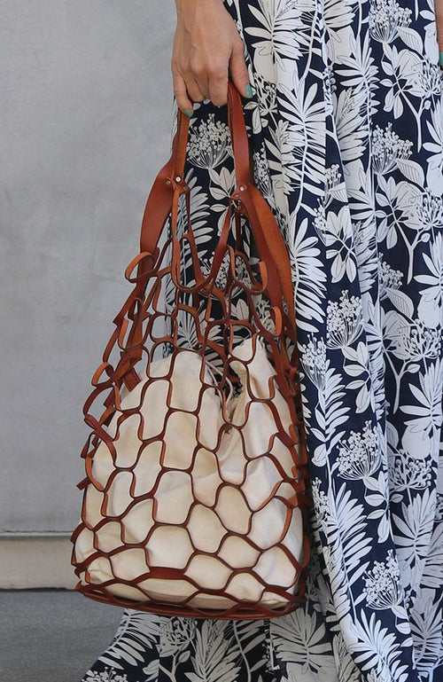 Leather Honeycomb Handbag