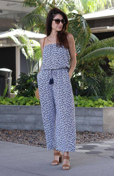 Navy and Floral Strapless Jumpsuit