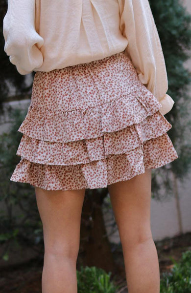 Cream and Rust Leopard Print Ruffle Mini Skirt - THE WEARHOUSE