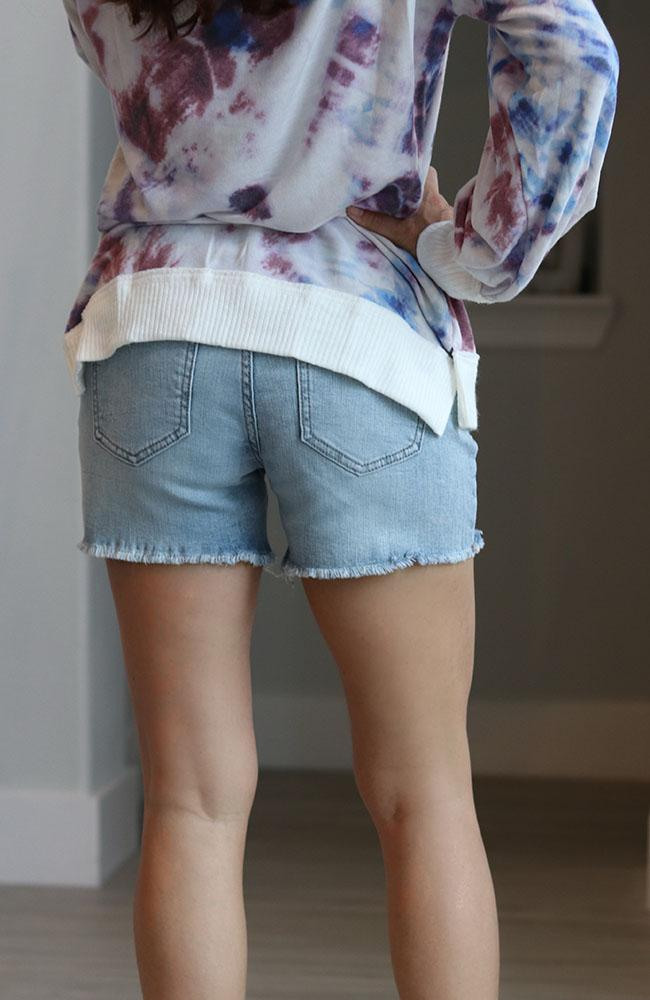 Sky Mid Rise Thigh Cut Off Shorts