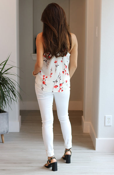 Red Cornflower Print Cami Top