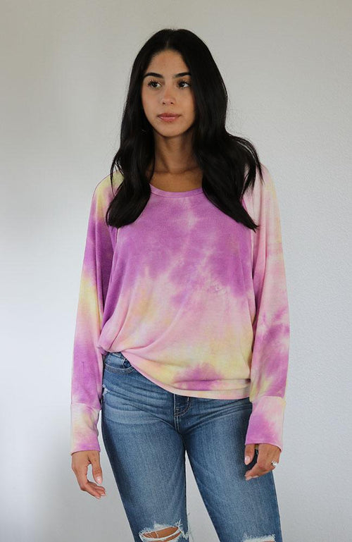 Magenta Tie Dye Long Sleeve Top
