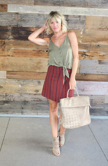 Marsala Colored Corduroy Skirt