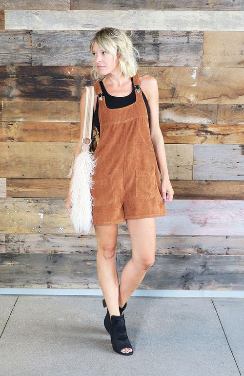 Brown Corduroy Short Overalls - THE WEARHOUSE