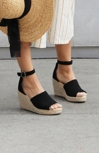 Joy Black Wedge Sandals