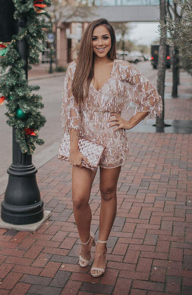 Blush Sequin Romper - THE WEARHOUSE