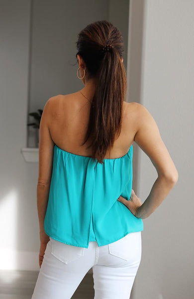 Turquoise Flowy Tube Top - THE WEARHOUSE