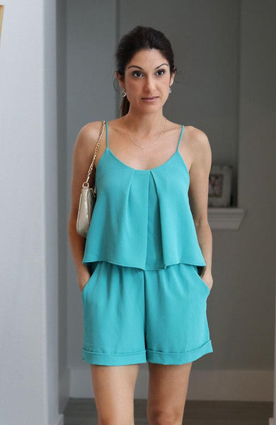 Mint Colored Pleated Romper - THE WEARHOUSE