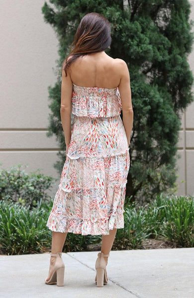 Boho Print Strapless Ruffle Dress