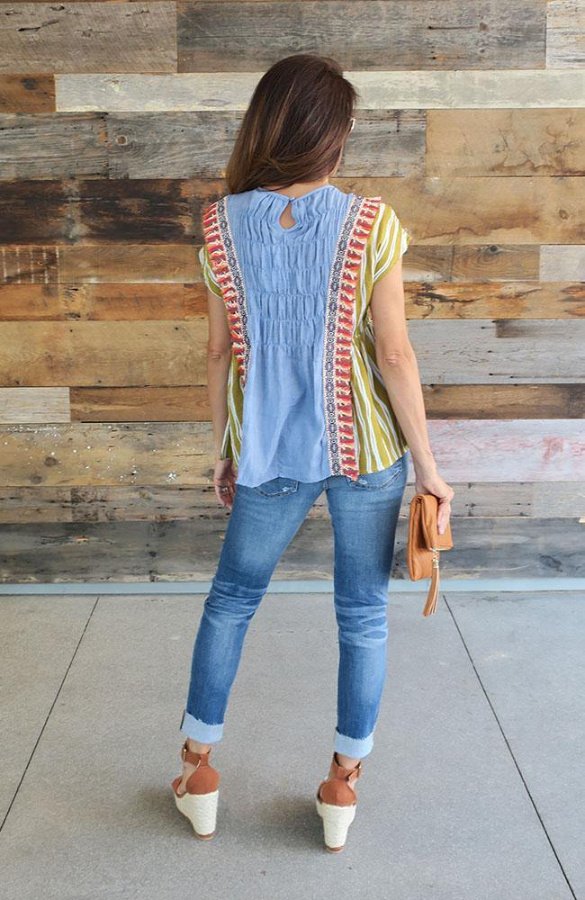 Striped Smocked And Tassel Top