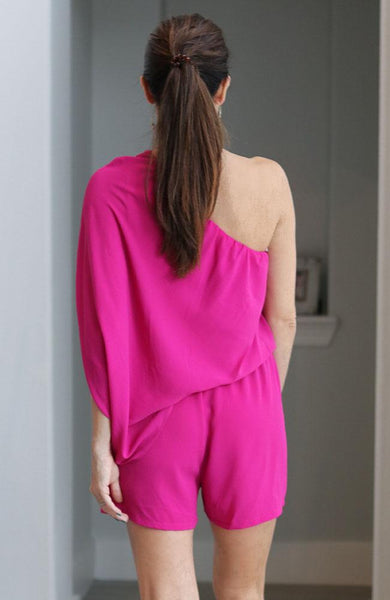 Fuchsia One Shoulder Romper - THE WEARHOUSE