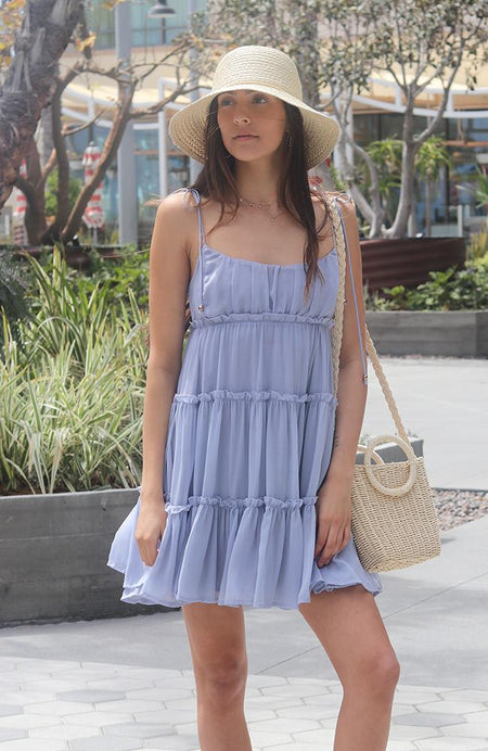 Denim Blue Ruffle Sleeve Dress