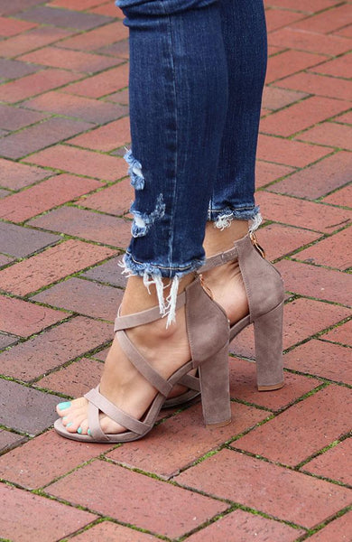 Mushroom Taupe Strap Heels - THE WEARHOUSE
