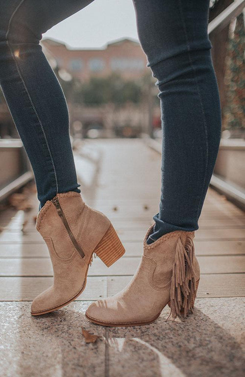Taupe Western Bootie - THE WEARHOUSE