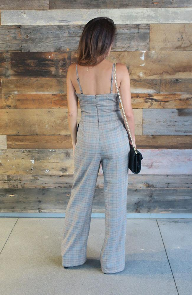 Plaid Jumpsuit with Waist Tie