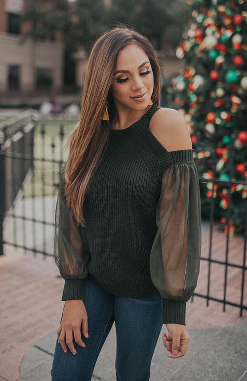 Dark Green Halter Neck Knit Top With Tulle Sleeves