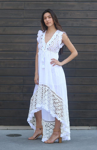 Jewled and Lace High Low Dress - THE WEARHOUSE