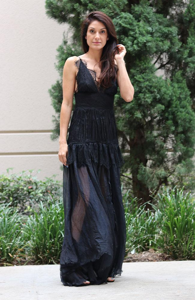 Black Delicate Chiffon Lace Gown - THE WEARHOUSE