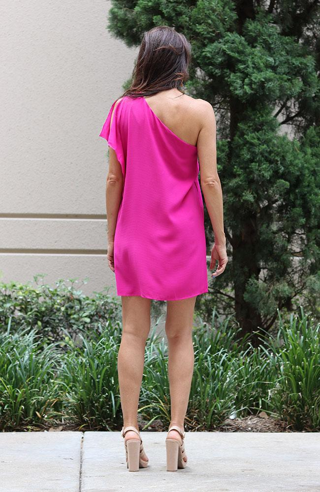 In Your Dreams One Shoulder Fuchsia Dress