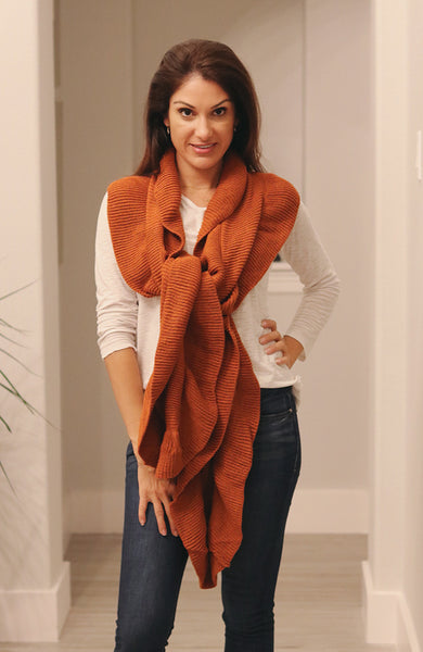 Rust Colored Detailed Knit Ruffled Scarf
