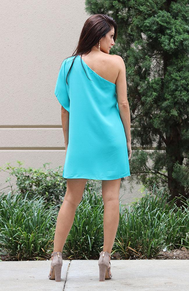 In Your Dreams One Shoulder Teal Dress