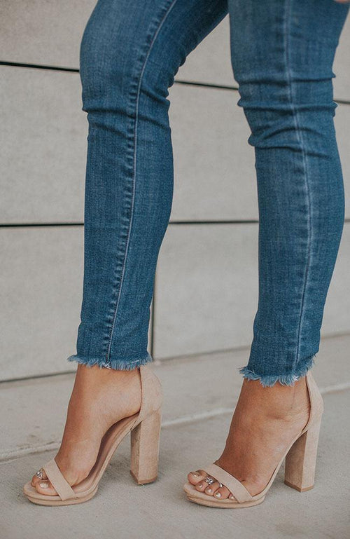 Isabella Medium Dark Jeans with Frayed Bottoms