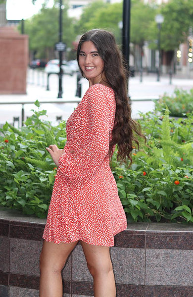 Red Floral Print Quarter Sleeve Dress