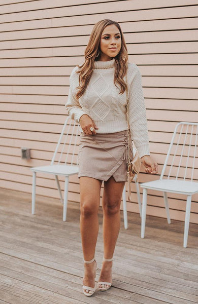 Beige Suede Mini Skirt - THE WEARHOUSE