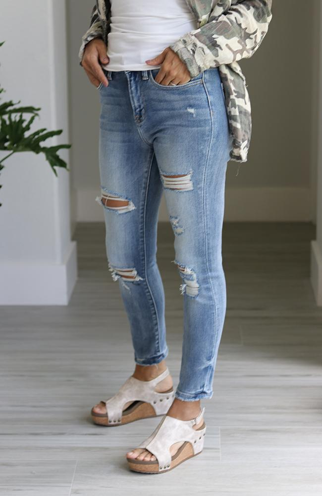 Heidi High Rise Distressed Crop Skinny Jeans - THE WEARHOUSE