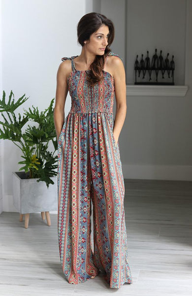 Detail Print Gypsy Jumpsuit