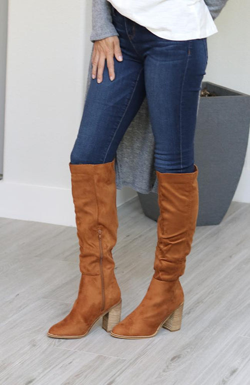 Farrah Faux Suede Tan Boots - THE WEARHOUSE