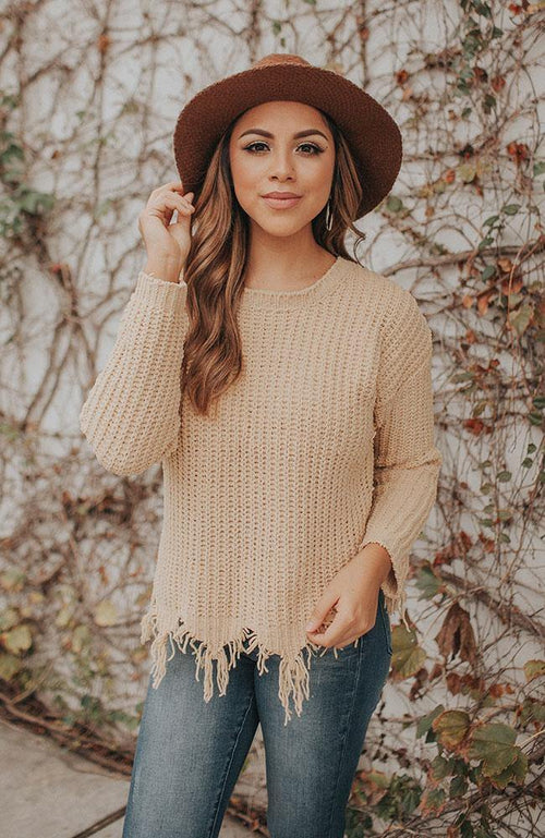 Mustard Tan Distressed Sweater