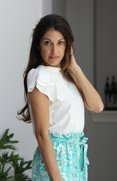 White Ruffled Neck Top - THE WEARHOUSE