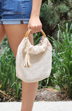 Cream Knit Handbag - THE WEARHOUSE
