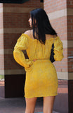 Yellow Print Scrunch Mini Dress