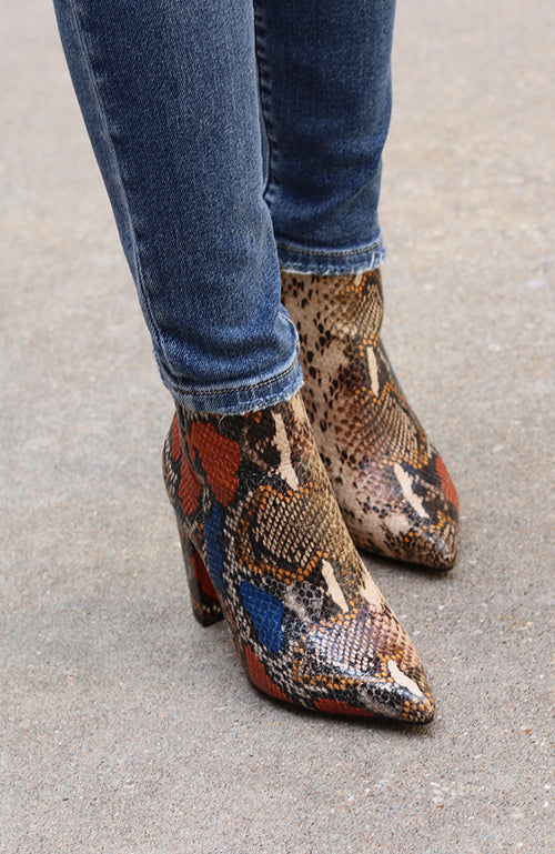 Olivia Blue and Rust Reptile Bootie