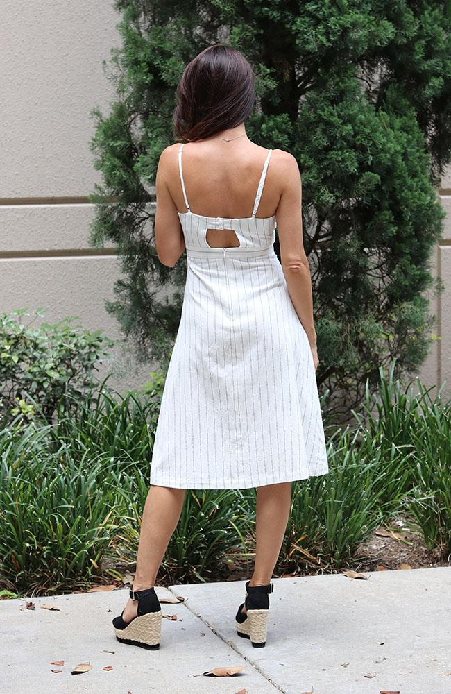 Off White Front Tie Dress