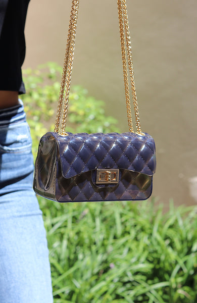 Charcoal and Gold Jelly Clutch