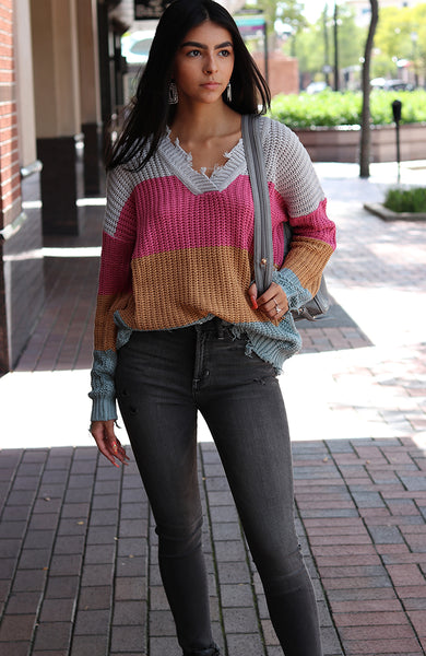 Pink, Rust, and Sage Color Block Sweater
