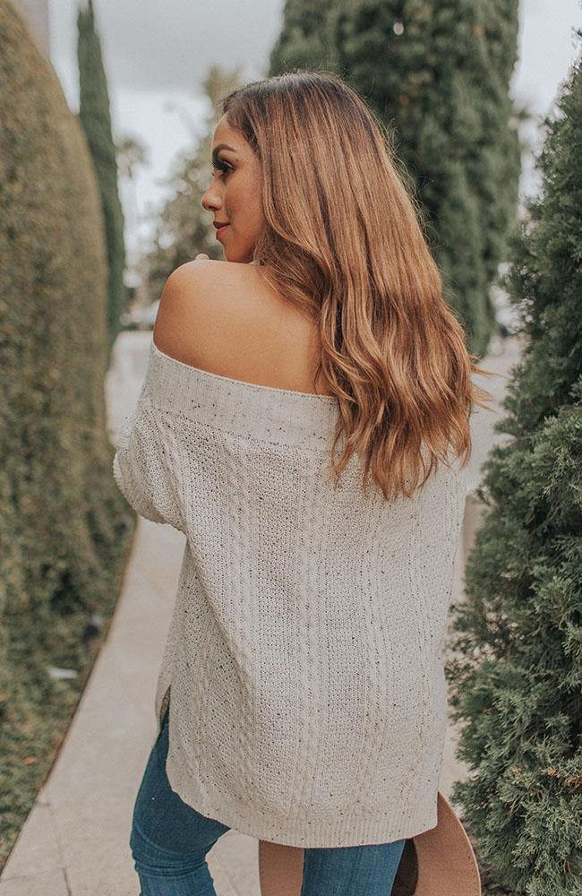 Cream Off Shoulder Sweater - THE WEARHOUSE