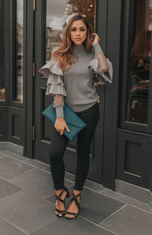 Grey Sheer Sleeve Ruffle Sweater