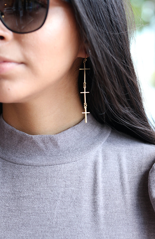 Gold Triple Cross Earrings