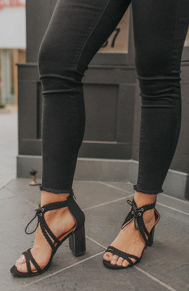 Black Braided Tie Heels - THE WEARHOUSE